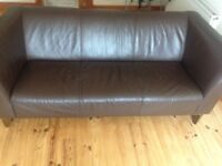 2 x 3 seater brown Leather Sofas