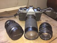 Asahi Pentax K1000 SLR film camera plus 3 lenses and converter in good condition
