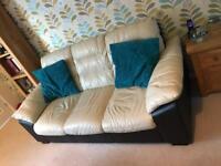 Leather Three Seater Sofa & Armchair