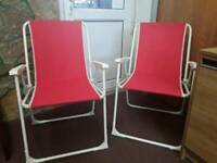 Two folding picnic chairs