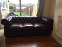 Oxblood Chesterfield Sofa Great Condition.