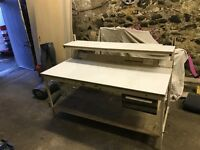 Work bench with electrical sockets , adjustable shelf & drawer