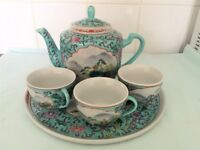 GORGEOUS CHINA TEA POT, CUPS & TRAY NEW UNUSED £9