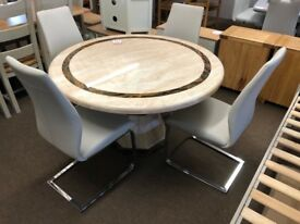 New/Ex-display Lovely round marble dining table and 4 chairs