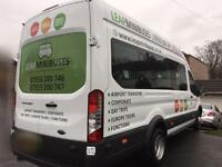 MINIBUS HIRE WITH DRIVER - 16 SEATERS - TRAVEL TO EUROPE - QUICK QUOTES, CARD PAYMENTS, 66 PLATES