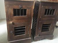 Pair of dark stained rustic bedside cabinets