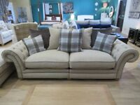 3 seater sofa, Snuggle chair and footstool in Natural Oatmeal, Sky Blue tartan with Oak feet