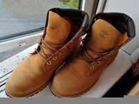 UK 8.5 Timberland Water Proof Nubuck 6 Inch Original Mens Boots Wheat Brown Lace 37578