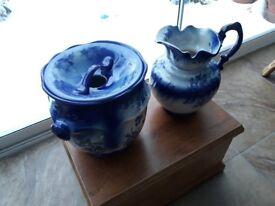 2 beautiful reproduction blue jugs