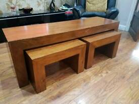 Solid oak Bench Table set