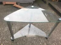 Corner glass desk