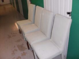 4 leather shabbyed chairs pale sage green