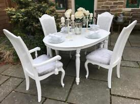 Extending Dining Table & 4 Chairs ~ French Chic ~ White & Silver Grey