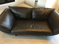chocolate brown leather designer sofa