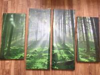 Woodland canvas art work excellent condition
