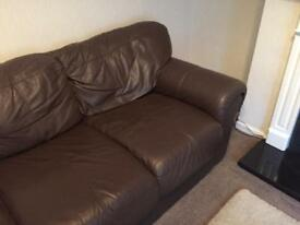 Brown leather 3 seat sofa
