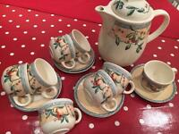 7 coffee cups and saucers and coffee pot Golden Pears
