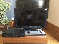 LG TV 32 inch plus LG DVD Player plus Cambridge Audio Amp