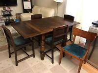 Antique dining table and 5chairs