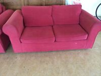 Red three seater bed settee and two seater matching settee