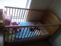 Cot bed Mamas & Papas Natural Oak + Outlast mattress
