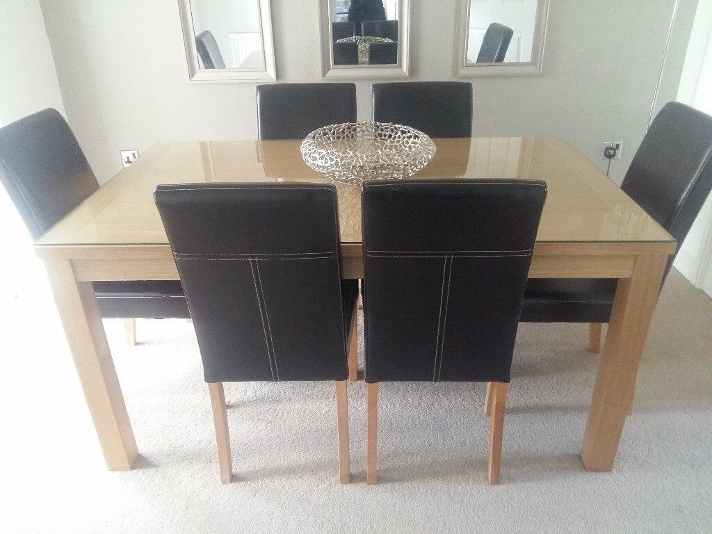 Dining table and 6 faux leather brown chairs