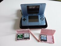 NINTENDO DS NTR-001 BLUE WITH 3 GAMES PEN AND CASE BUT NO CHARGER VGC