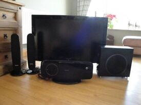 SAMSUNG 40INCH LCD TV & SAMSUNG DVD HOME THEATER SYSTEM WITH SUB & SPEAKERS