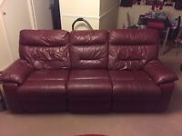 DFS 3 & 1 Seater Cherry Black (Red) Leather Sofa Suite I CAN DELIVER