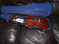 Beginner's Violin 3/4 size with bow and case. Spares or repair