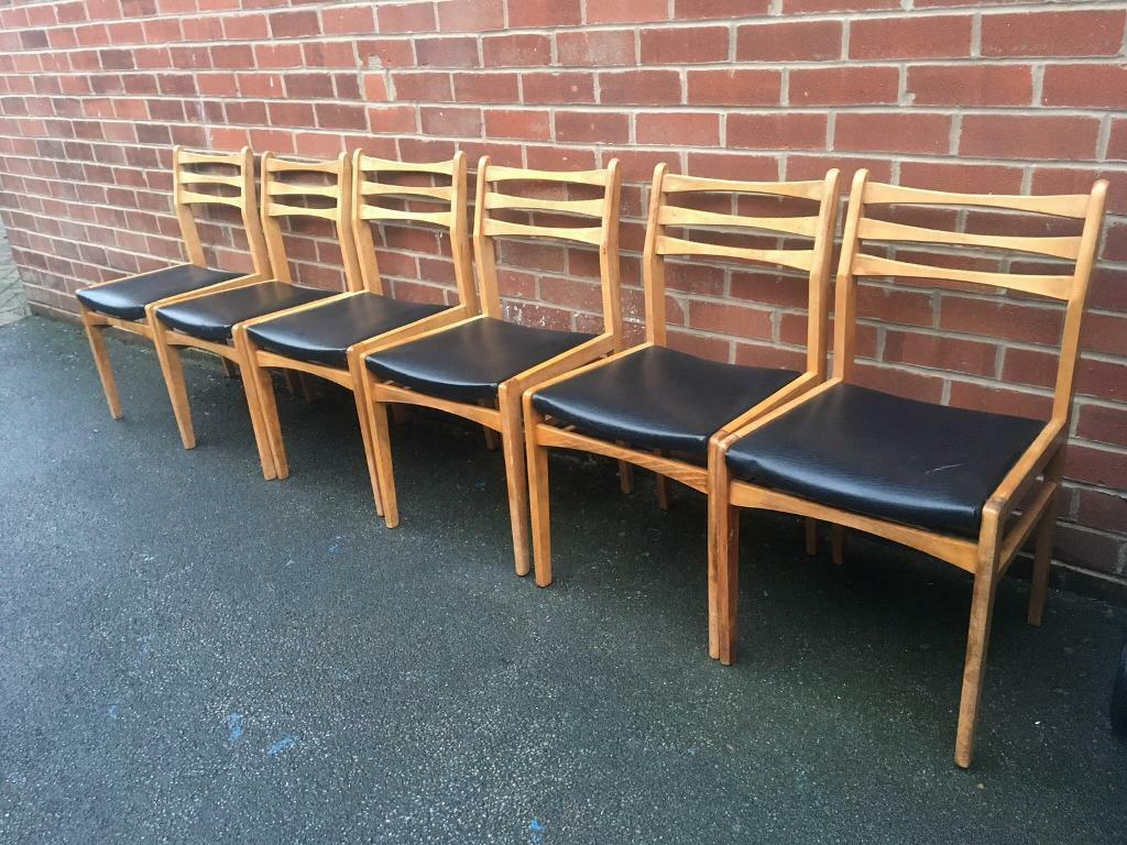 Vintage teak chairs dining kitchen set of 6 mid century retro g plan macintosh nathan