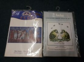 Bundle of cross stitch stand frames hoops & new kits worth over £200