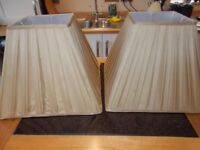 A BEAUTIFUL PAIR OF PLEATED SILK SQUARE LAMPSHADES.