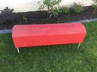 red ikea bench