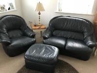 Free to collect, Black leather sofa, chair, and footsool.