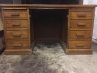 Vintage large solid oak pedestal leather top desk