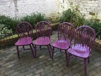 4 painted solid wood spindle chairs