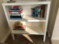 Ikea white bookcase and TV/coffee table