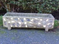 LARGE GARDEN TROUGH PLANTER MOSAIC EFFECT DETAILING TO SIDES