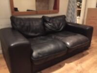 Black leather 2 seater sofas X 2