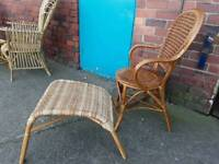 Garden Patio Furniture Wicker Chair And Footstool