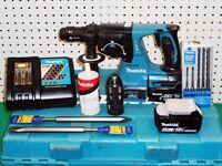 MAKITA DHR243 18v LI-ION BRUSHLESS SDS+ 3 MODE HAMMER DRILL / BREAKER with 3.0Ah & 4.0Ah Batteries