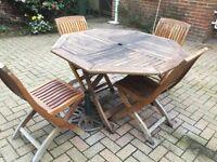 teak octagonal 4 chair folding set outdoor wood furniture ...