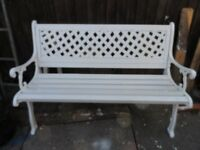for sale 2 white benches, wood and cast iron. 70 pound each