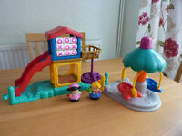 Fisher Price slide and roundabout with 2 figures and fairground aeroplane ride