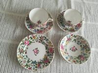PINK FLOWER BONE CHINA CUP & SAUCERS X 2 PLUS PLATES