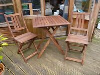 Small Folding Wooden Garden or Patio Table and 2 Chairs
