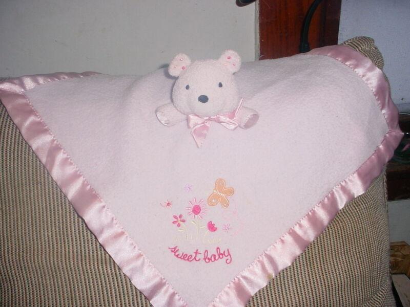 CARTERS BABY PINK TEDDY BEAR LOVELY BLANKET BLANKIE lovey