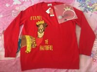 UK Women Christmas Long Sleeve Jumper Top Ladies Cropped Sweater Size 14 with a headband