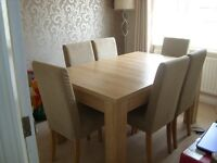 Dining Table and size chairs (oak effect)